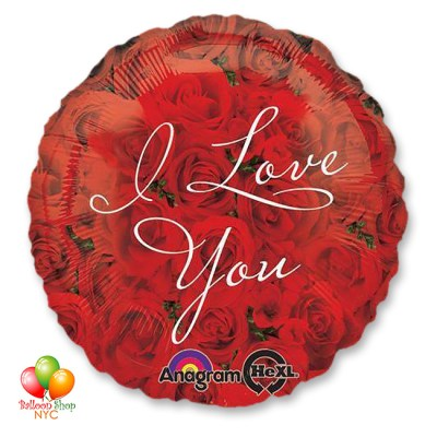 I Love You Rose Valentines Day Balloon Round 18 Inch Inflated Delivery in New York from Balloon Shop NYC