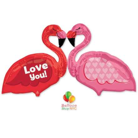 Love Flamingos Super Shape Mylar Party Balloon 46 inch delivery from Balloon Shop NYC