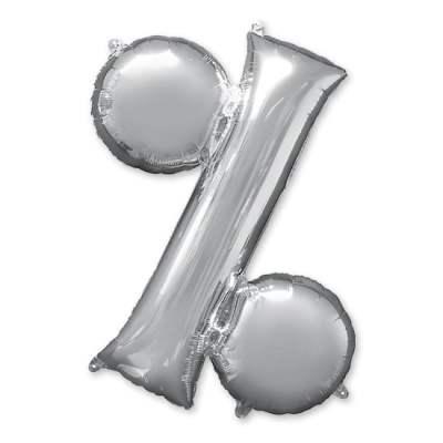 Symbol Percent Silver Jumbo Balloon from Balloon Shop NYC