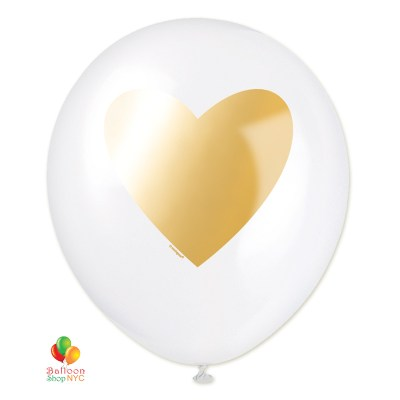 Gold Heart White Latex Balloon 11 Inch Inflated delivery Balloon Shop NYC