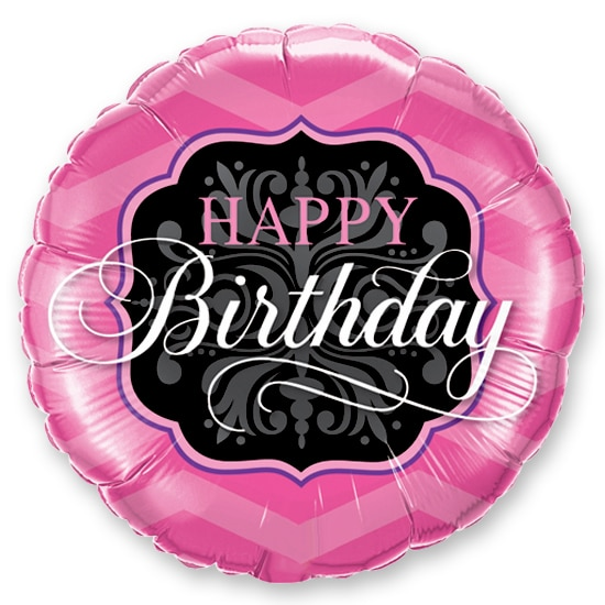 Happy Birthday Pink Black Mylar Balloon Delivery From Shop NYC
