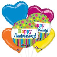 Bright Aanniversary Mylar Balloon Bouquet with Hearts delivery from Balloon Shop NYC