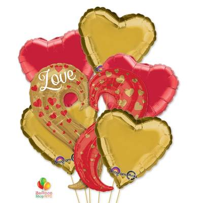 Curvy Heart Mylar Balloon Bouquet delivery from Balloon Shop NYC