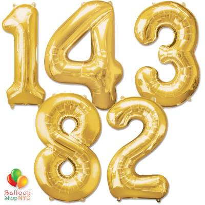 Express Order Jumbo Numbers Foil Balloon Gold 40 inch Inflated delivery from Balloon Shop NYC