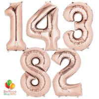 Express Order Jumbo Numbers Foil Balloon Rose Gold 35 inch Inflated delivery From Balloon Shop NYC