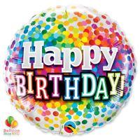Happy Birthday Rainbow Confetti Mylar Balloon 18 inch 49496 delivery from Balloon Shop NYC