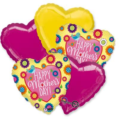 Happy Mothers Day Hearts Mylar Balloon Bouquet Delivery from Balloon Shop NYC