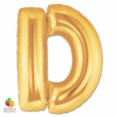 Jumbo Letter D Foil Balloon Gold 40 inch Inflated delivery from Balloon Shop NYC