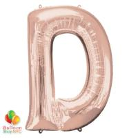 Jumbo Letter D Foil Balloon Rose Gold 35 inch Inflated delivery from Balloon Shop NYC