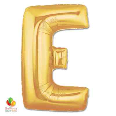 Jumbo Letter E Foil Balloon Gold 40 inch Inflated delivery from Balloon Shop NYC