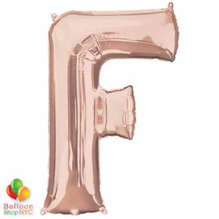 Jumbo Letter F Foil Balloon Rose Gold 35 inch Inflated delivery from Balloon Shop NYC
