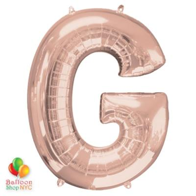 Jumbo Letter G Foil Balloon Rose Gold 35 inch Inflated delivery from Balloon Shop NYC