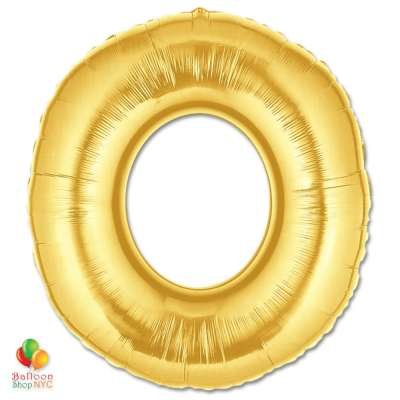 Jumbo Letter O Foil Balloon Gold 40 inch Inflated delivery from Balloon Shop NYC