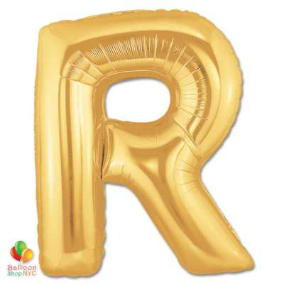 Jumbo Letter R Foil Balloon Gold 40 inch Inflated delivery from Balloon Shop NYC