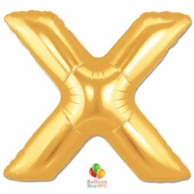 Jumbo Letter X Foil Balloon Gold 40 inch Inflated delivery from Balloon Shop NYC