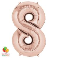 Jumbo Number 8 Foil Balloon Rose Gold 35 inch Inflated delivery from Balloon Shop NYC