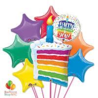 Happy Birthday Rainbow Cake Candle Stars Balloons Bouquet