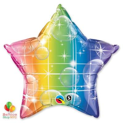 Star Rainbow Mylar Balloon 18 Inch Inflated Delivery from Balloon Shop NYC
