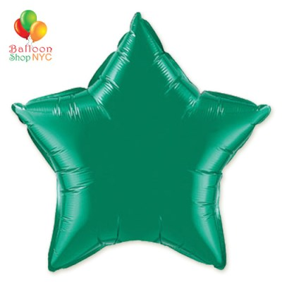 Green Star Mylar Balloon Rainbow Collection 20 inch Inflated delivery Balloon Shop NYC