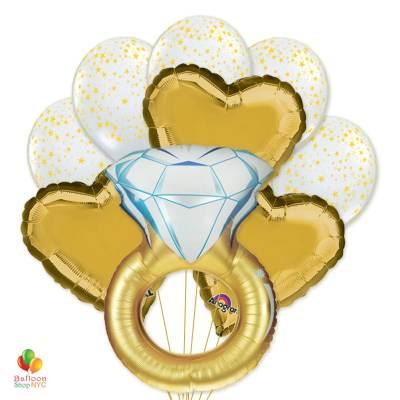 Gold Jumbo Wedding Ring Mylar Balloon Bouquet delivery Balloon Shop NYC