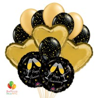 Happy Anniversary Champagne Toasting Hearts Balloon Bouquet delivery from Balloon Shop NYC