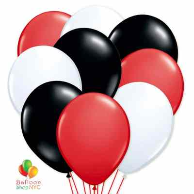 Ultimate Red Black & White Latex Party Balloons Bouquet delivery from Balloon Shop NYC