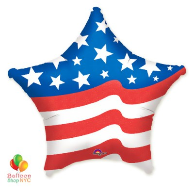 American Star Flag Patriotic Mylar Balloon 18 inch Inflated delivery from Balloon Shop NYC