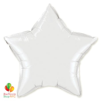 White Star Patriotic Mylar Balloon 19 inch Inflated delivery from Balloon Shop NYC