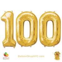 100th Birthday Jumbo Number Foil Balloons Set Gold 40 Inch Inflated