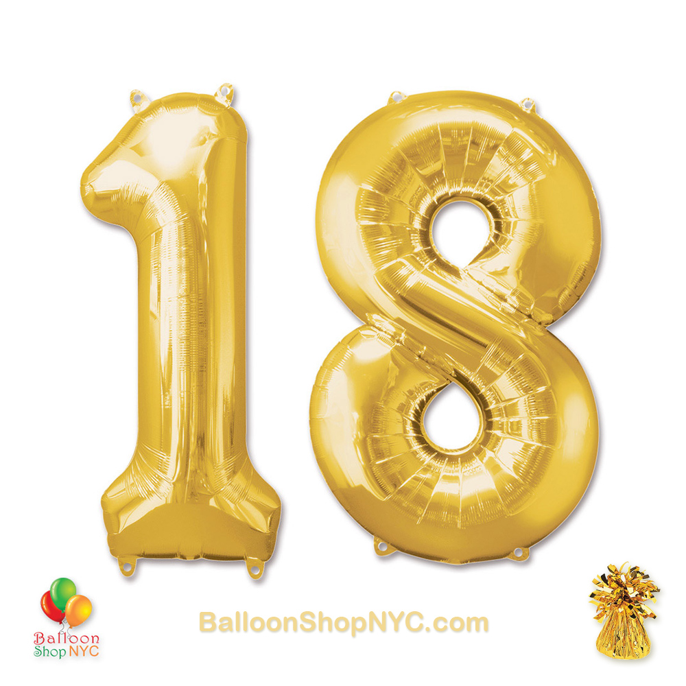 18th Birthday Jumbo Number Foil Balloons Set Gold 40 Inch Inflated High Quality Cheap
