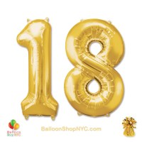 18th Birthday Jumbo Number Foil Balloons Set Gold 40 Inch Inflated