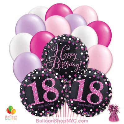 18th Pretty Pink Happy Birthday Mylar Latex Pearl Balloon Bouquet Inflated high-quality cheap balloons nyc delivery