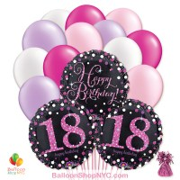 18th Pretty Pink Happy Birthday Mylar Latex Pearl Balloon Bouquet Inflated High Quality Cheap Balloons