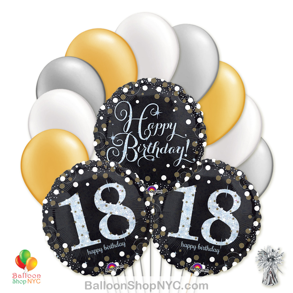 18 Sparkling Happy Birthday Mylar Latex Pearl Balloon Bouquet