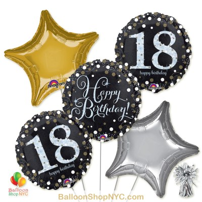 18th Sparkling Happy Birthday Mylar Stars Balloon Bouquet high-quality cheap balloons nyc delivery