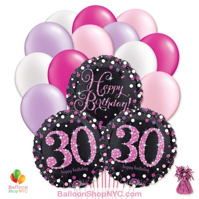 30th Pretty Pink Happy Birthday Mylar Latex Pearl Balloon Bouquet Inflated high-quality cheap balloons nyc delivery