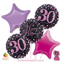 30th Pretty Pink Happy Birthday Mylar Stars Balloon Bouquet Inflated