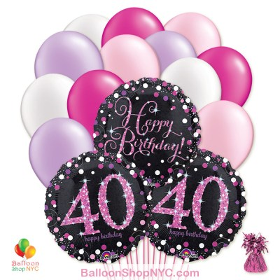 40th Pretty Pink Happy Birthday Mylar Latex Pearl Balloon Bouquet Inflated high-quality cheap balloons nyc delivery