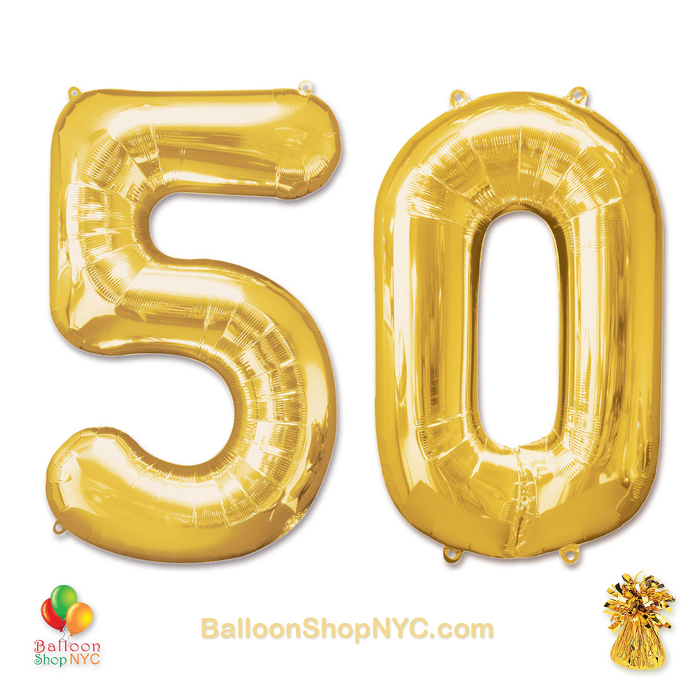 50 Birthday Jumbo Number Foil Balloons Set Gold 40 Inch Inflated High Quality Cheap