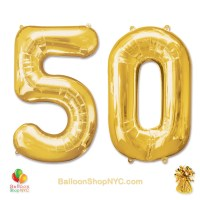 50 Birthday Jumbo Number Foil Balloons Set Gold 40 inch Inflated high-quality cheap balloons nyc delivery