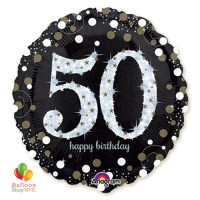50th Sparkling Happy Birthday Mylar Balloon 18 Inch Helium Inflated delivery New York