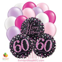 60th Pretty Pink Happy Birthday Mylar Latex Pearl Balloon Bouquet Inflated high-quality cheap balloons nyc delivery