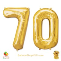 70th Birthday Jumbo Number Foil Balloons Set Gold 40 inch Inflated high-quality cheap balloons nyc delivery