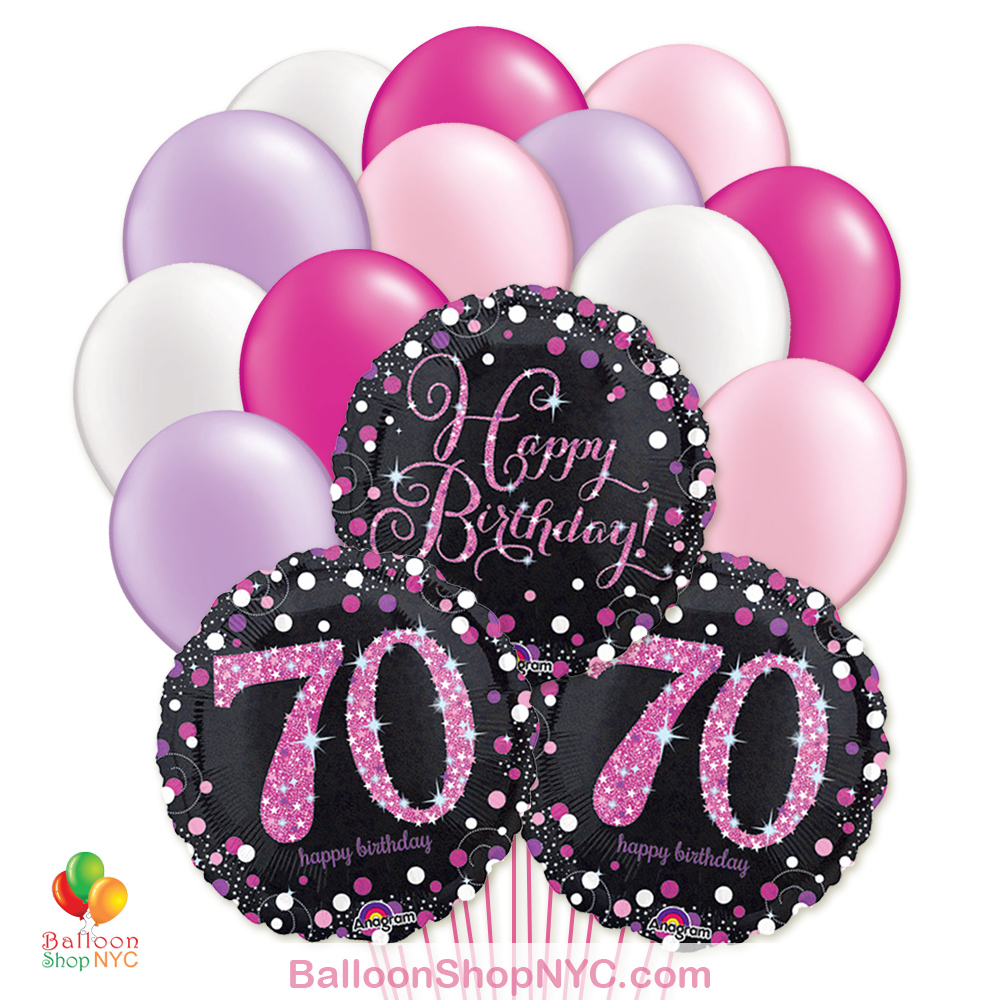 70th Pretty Pink Happy Birthday Mylar Latex Pearl Balloon Bouquet Inflated High Quality Cheap Balloons