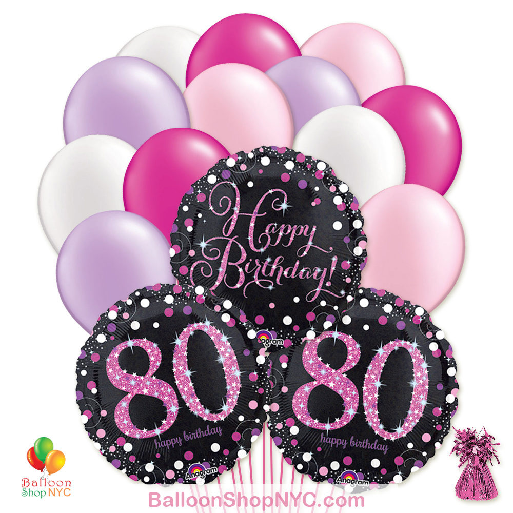 80th Pretty Pink Happy Birthday Mylar Latex Pearl Balloon Bouquet High Quality Cheap Balloons Nyc