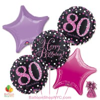 80th Pretty Pink Happy Birthday Mylar Stars Balloon Bouquet Inflated high-quality cheap balloons nyc delivery