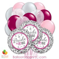 Elegant Bride Mylar Latex Balloon Bouquet Inflated delivery from Balloon Shop NYC