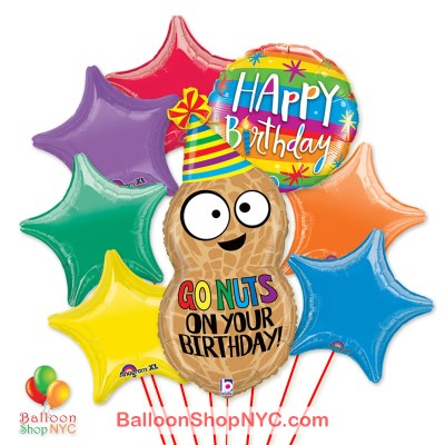 Go Nuts On Your Birthday Jumbo Peanut Fun Mylar Balloon Bouquet Inflated high-quality cheap balloons nyc delivery