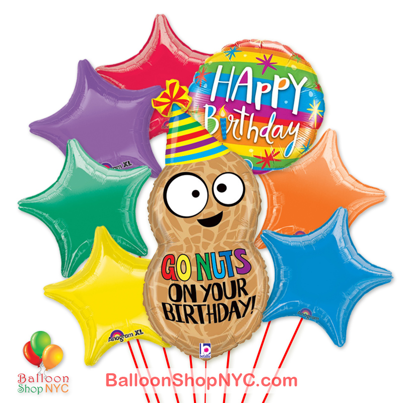 Go Nuts On Your Birthday Jumbo Peanut Fun Mylar Balloon Bouquet Inflated High Quality Cheap