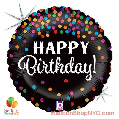 Happy Birthday Holographic Confetti Mylar Balloon 18 Inch Inflated high-quality cheap balloons nyc delivery
